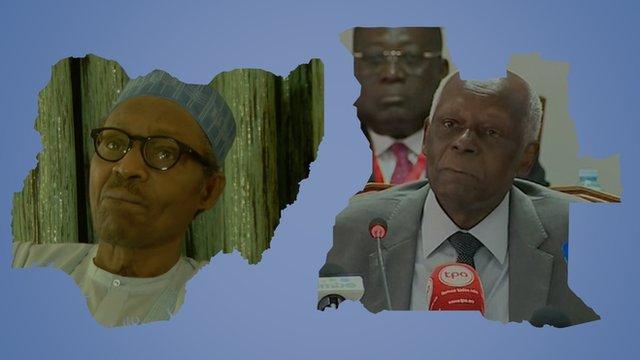 Nigerian leader Muhammadu Buhari and Angolan President Jose Eduardo dos Santos