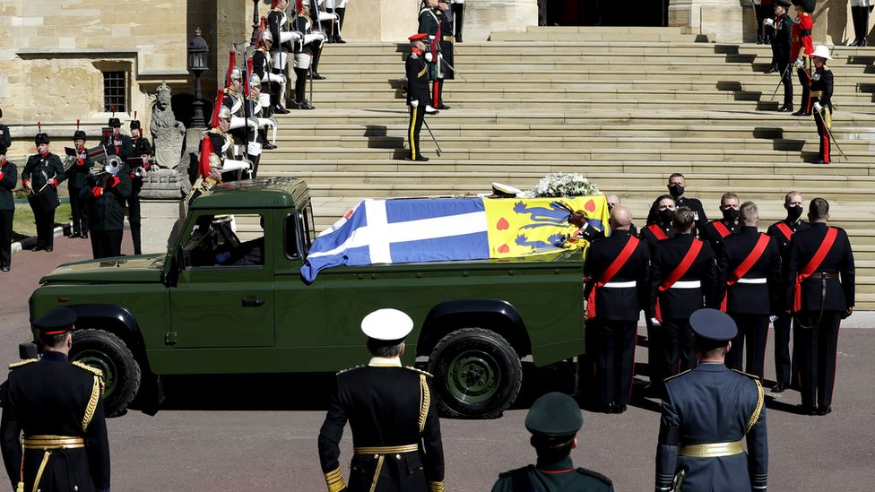 The Duke of Edinburgh's coffin on the modified Land Rover
