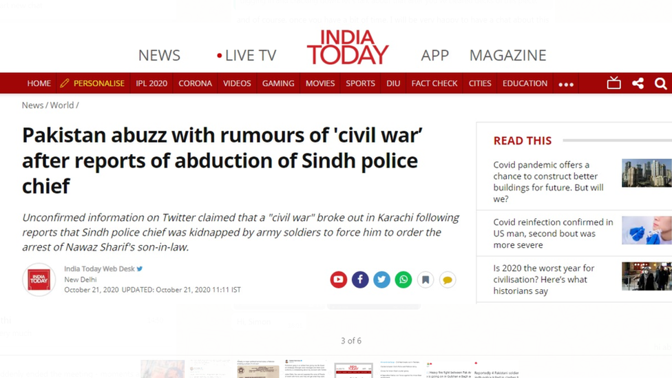 India Buzzes With Fake News Of Civil War In Pakistan Bbc News