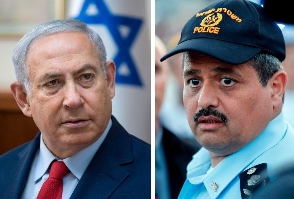 رئيس الوزراء الإسرائيلي بنيامين نتنياهو ورئيس الشرطة الإسرائيلية، المفوض روني الشيخ
