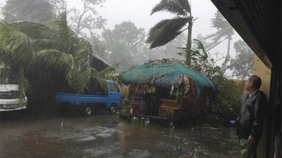 Storm damage in Narvacan, Ilocos Sur, northern Philippines (20 Oct 2016)