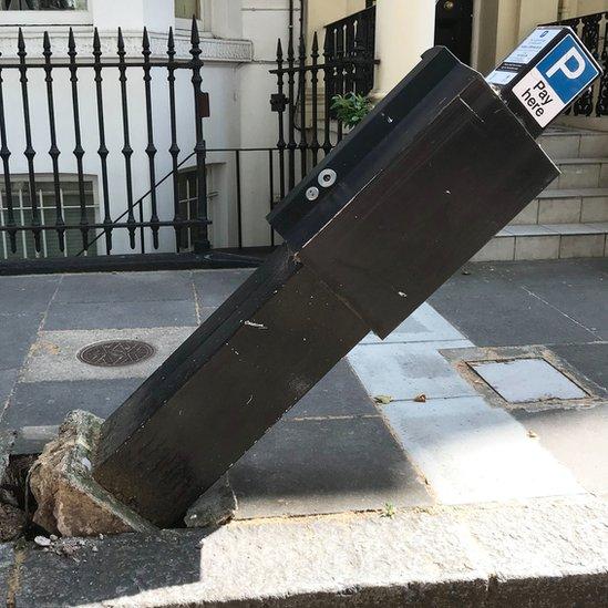Damaged parking meter