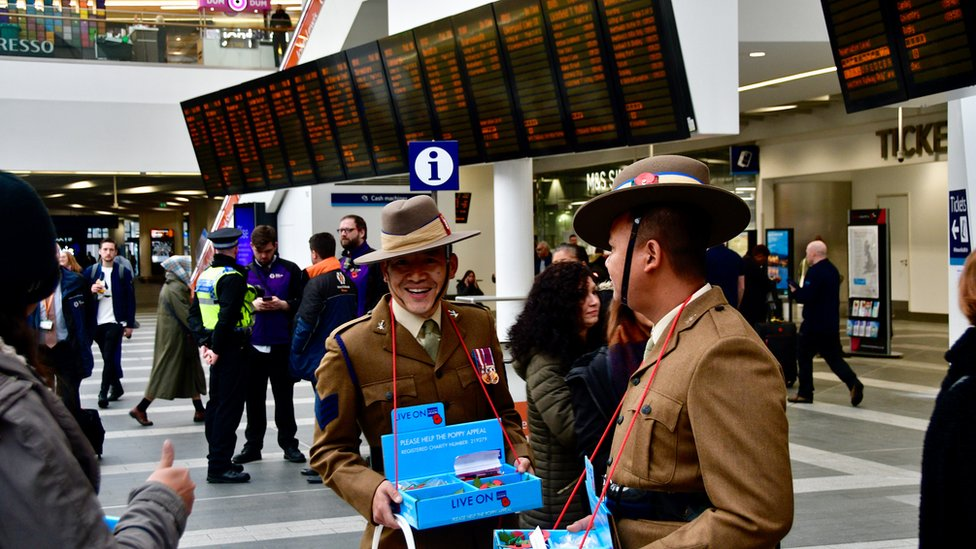 Gurkhas on duty at New Street Station