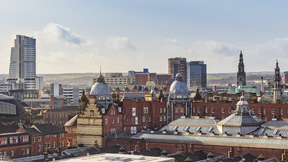 View of Leeds city centre skyline