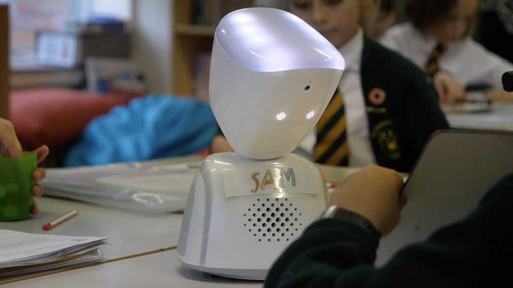 The robot helping a seven-year-old boy go to school