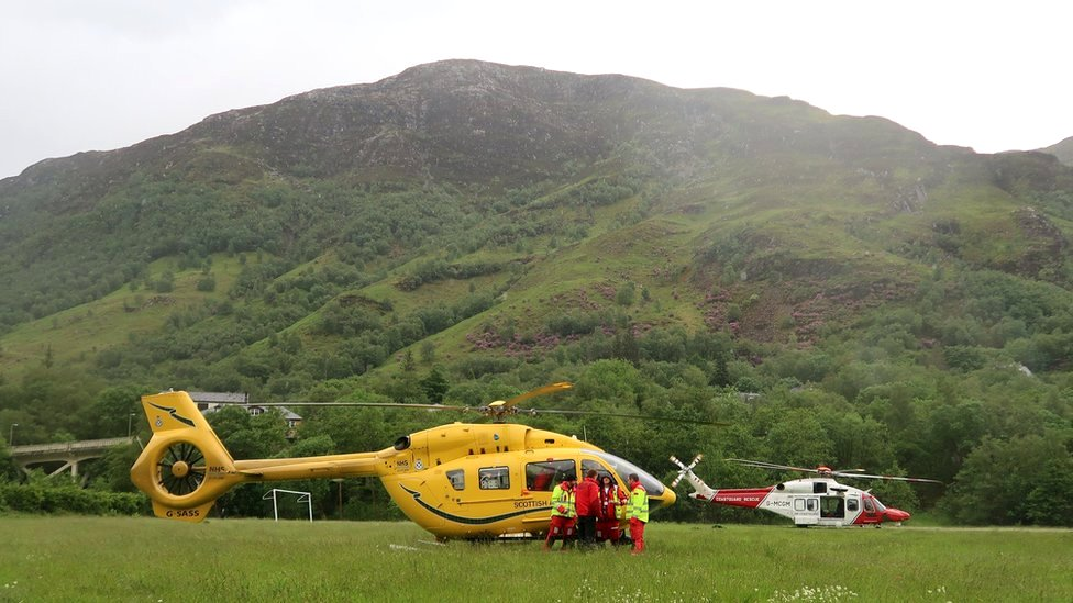 Rescue helicopter and air ambulance