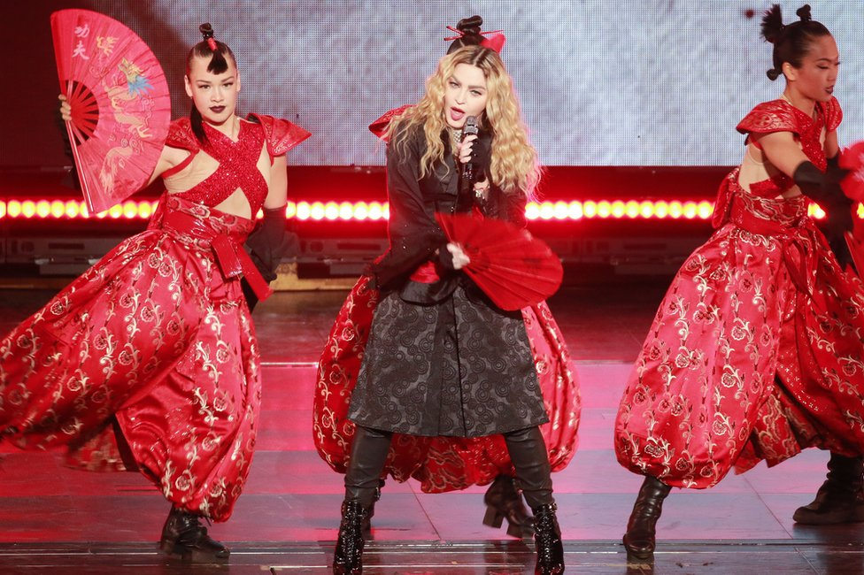 Madonna performs onstage during her concert Rebel Heart Tour in 2016 in Macau, China