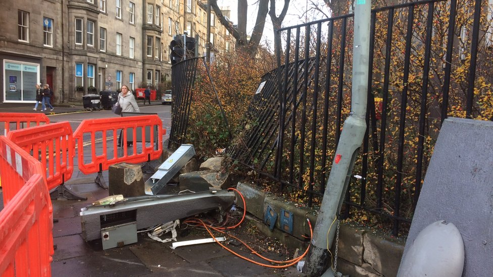 Man charged after car crashes into wall in Edinburgh