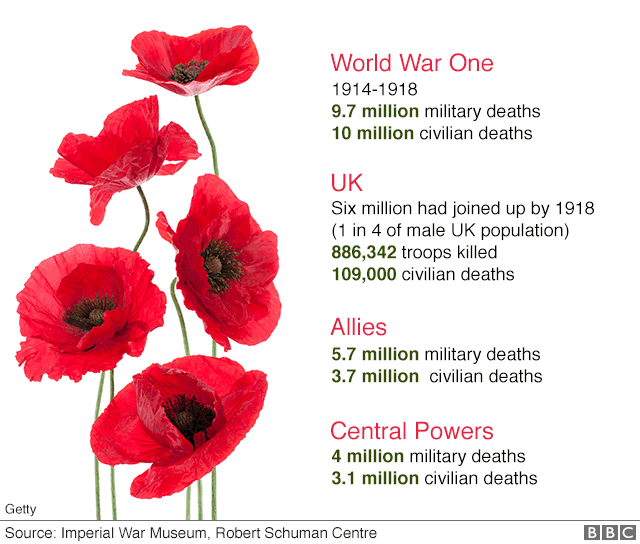 Graphic showing number of war dead