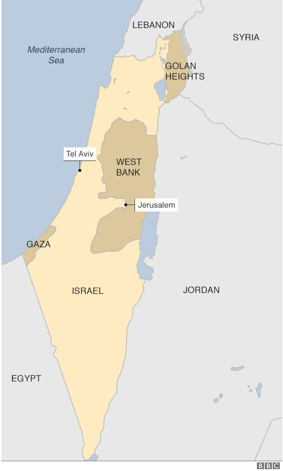 A map of Israel and the Palestinian territories