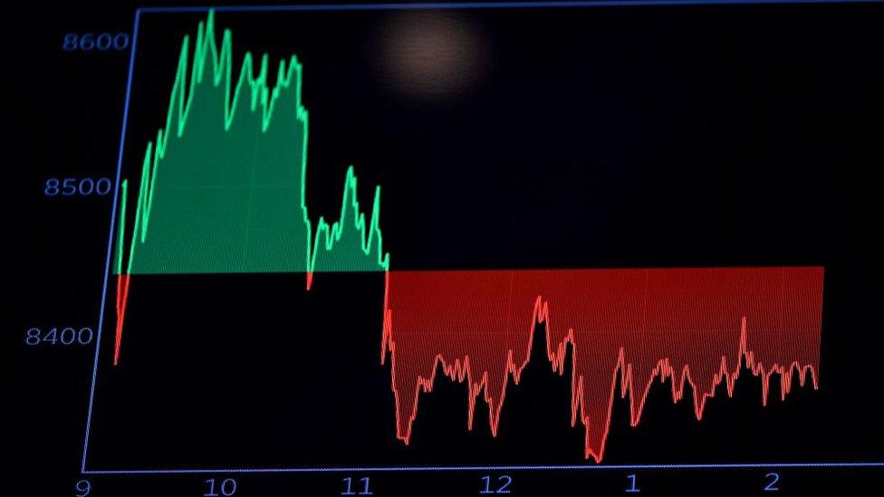Un gráfico muestra el DAX en la campana de apertura en la Bolsa de Nueva York (NYSE) el 19 de marzo de 2020 en Wall Street en la ciudad de Nueva York