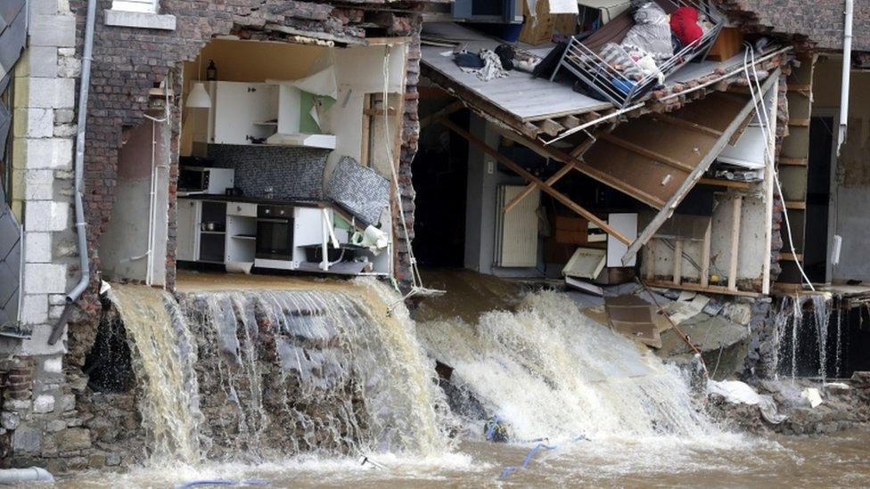 Inundación en Pepinster, Bélgica.