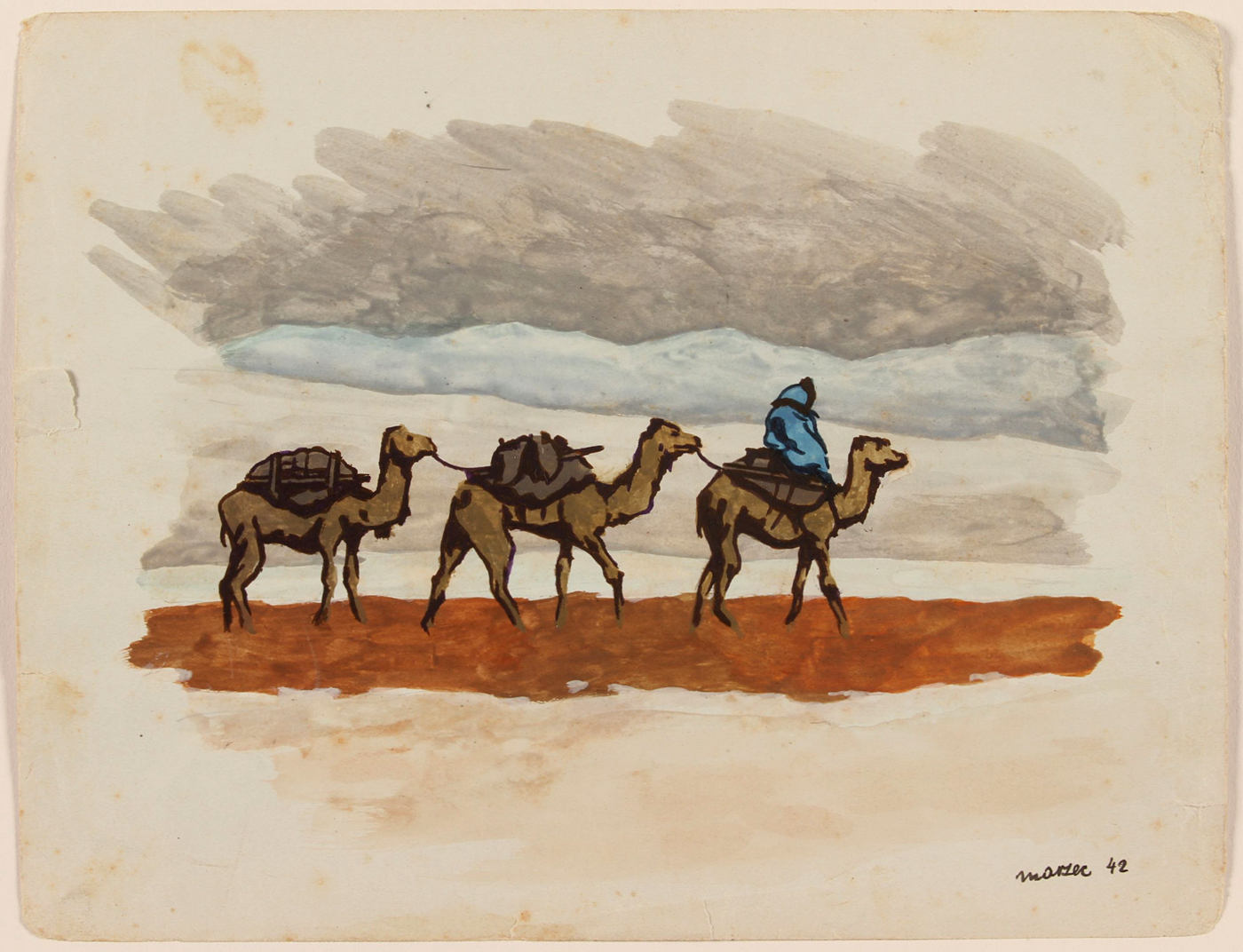 Rider and Three Camels, Kyrgyzstan, 1942