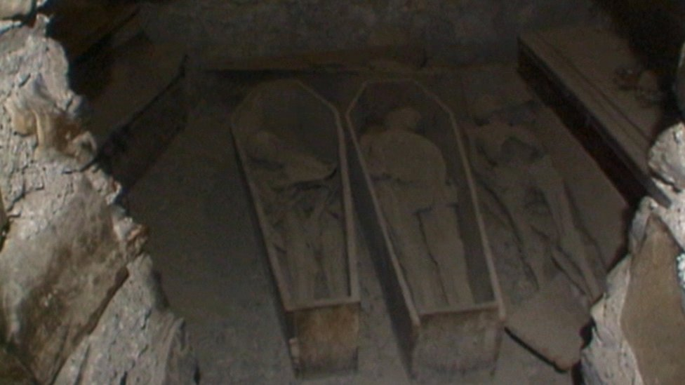 The crypt of St Michan's was vandalised in 1996.