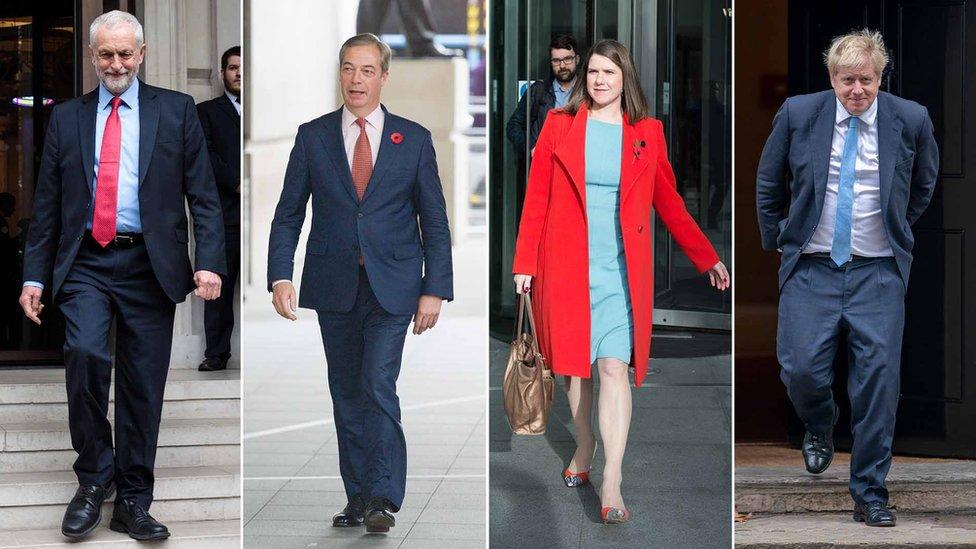 Composite of Jeremy Corbyn, Jo Swinson, Nigel Farage, Boris Johnson