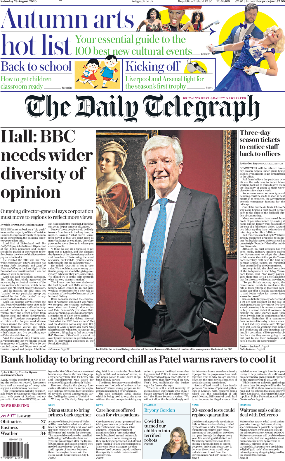 The Daily Telegraph front page 29 August 2020