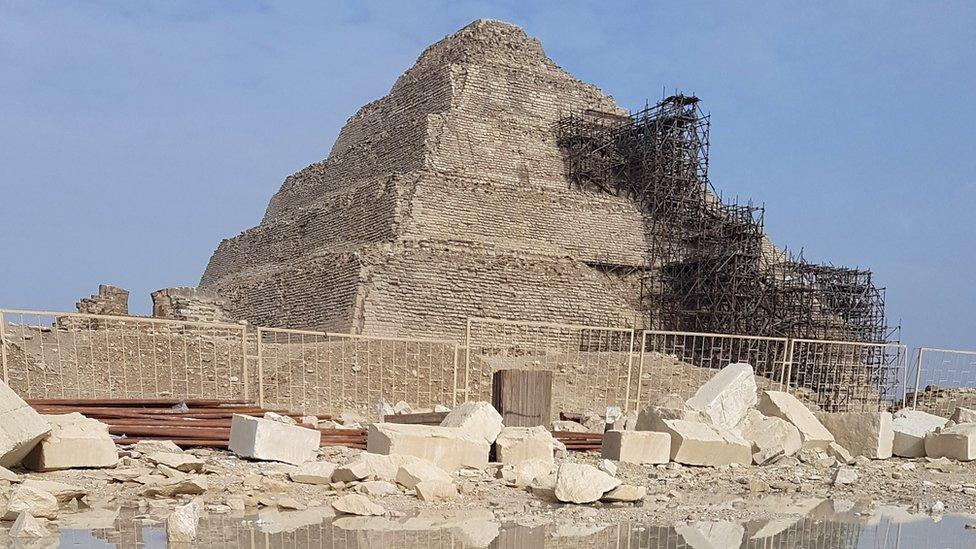 The pyramid during repair work