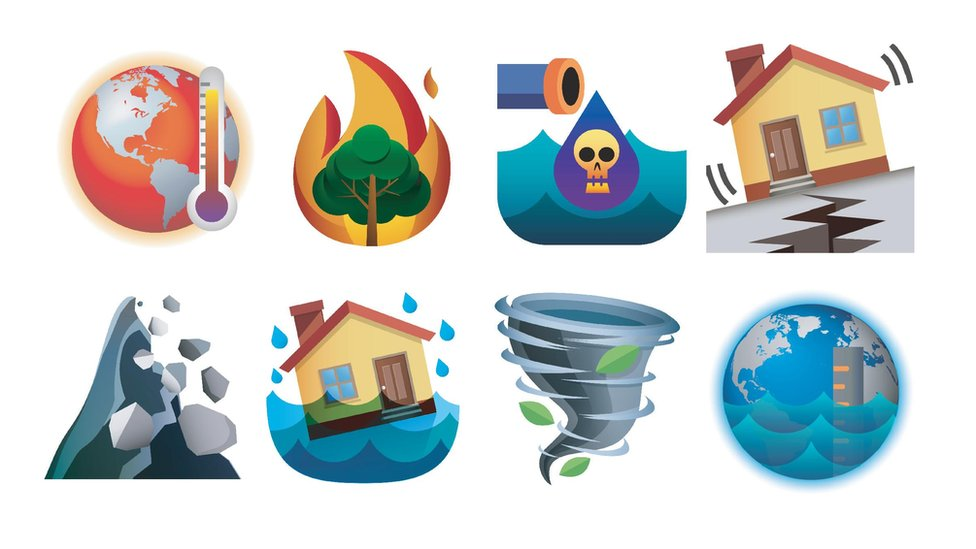 A set of eight prototype emojis, depicting global warming, wildfires, ocean pollution, earthquake, landslide, flooding, tornado and sea level rise