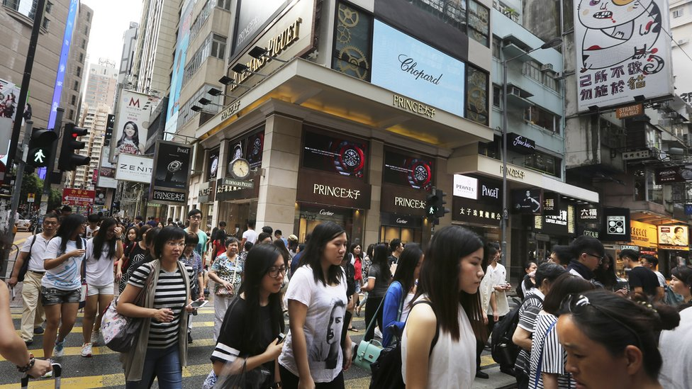 Luxury fashion store on Russell Street in the Causeway Bay shopping district