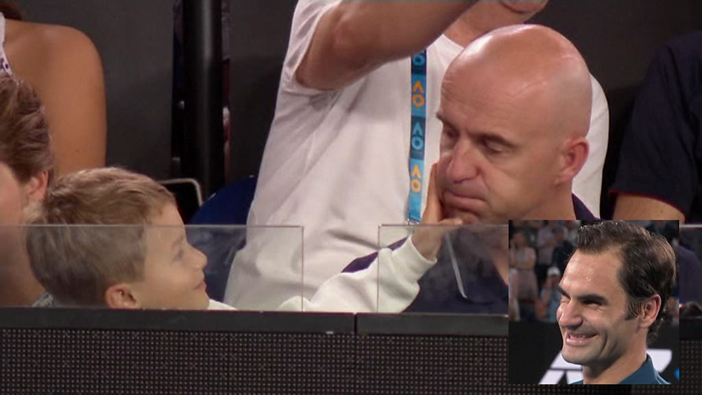 Roger Federer: Son Lenny steals the show after win at Australian Open