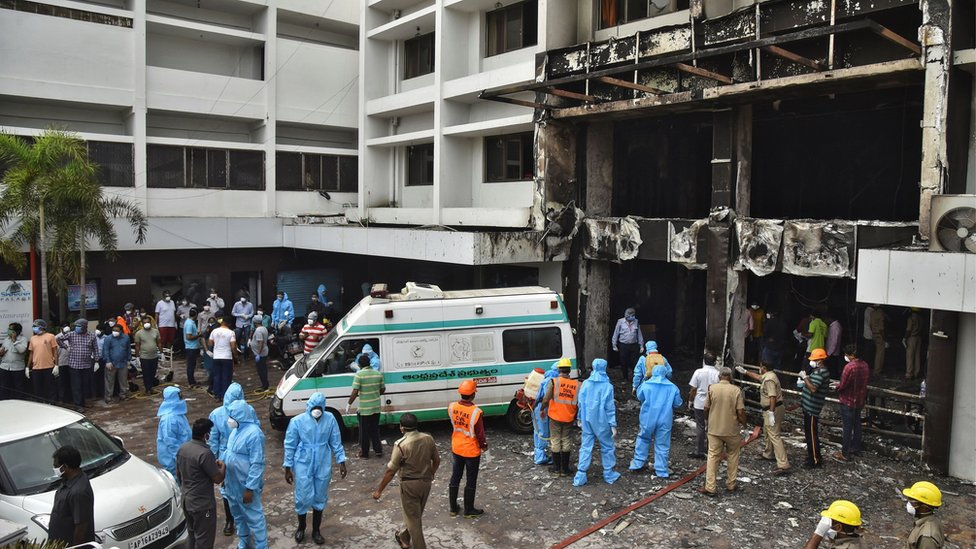 Rescue workers at the scene of the fire in Vijayawada