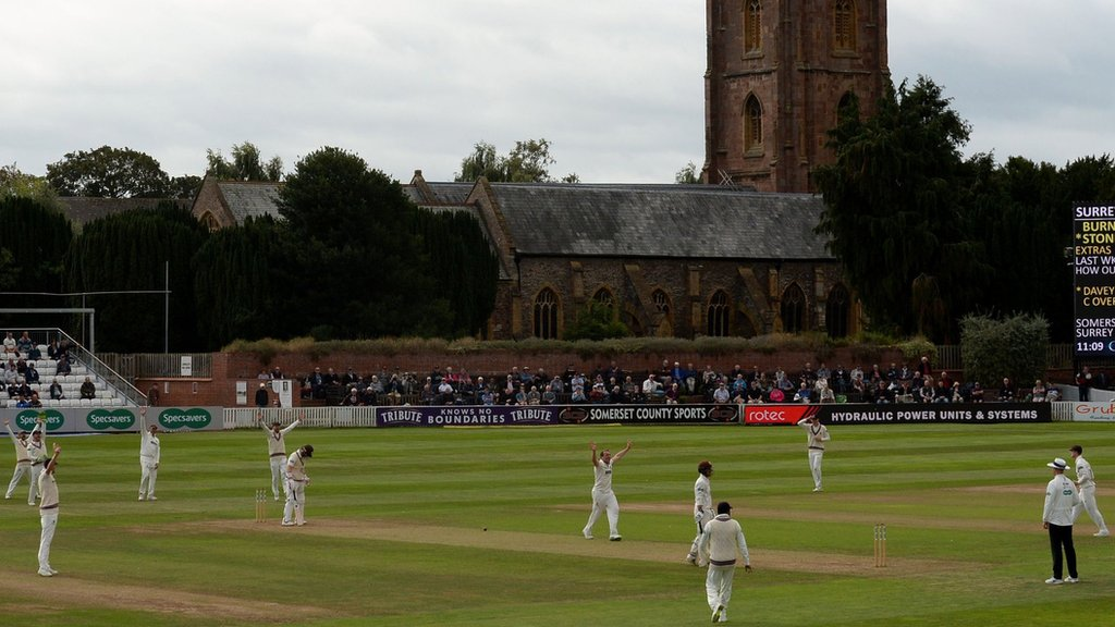 County Championship: Somerset v Surrey called off after storm damages wicket