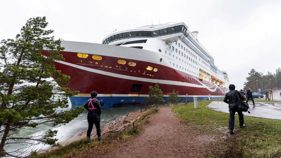 Viking Line cruise ferry Viking Grace after it ran aground with some 300 passengers in south of Mariehamn, autonomous Aland Islands territory, Finland November 21, 2020