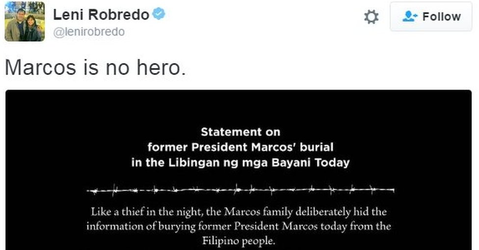 "@lenirobredo tweets: ""Marcos is no hero"""