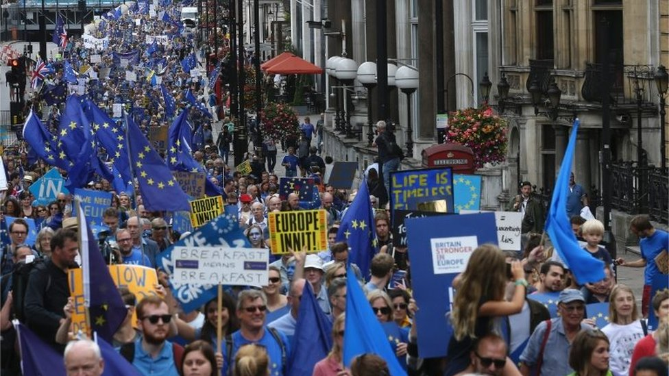 People march with EU flags and pro-Europe slogans on placards during a March for Europe protest