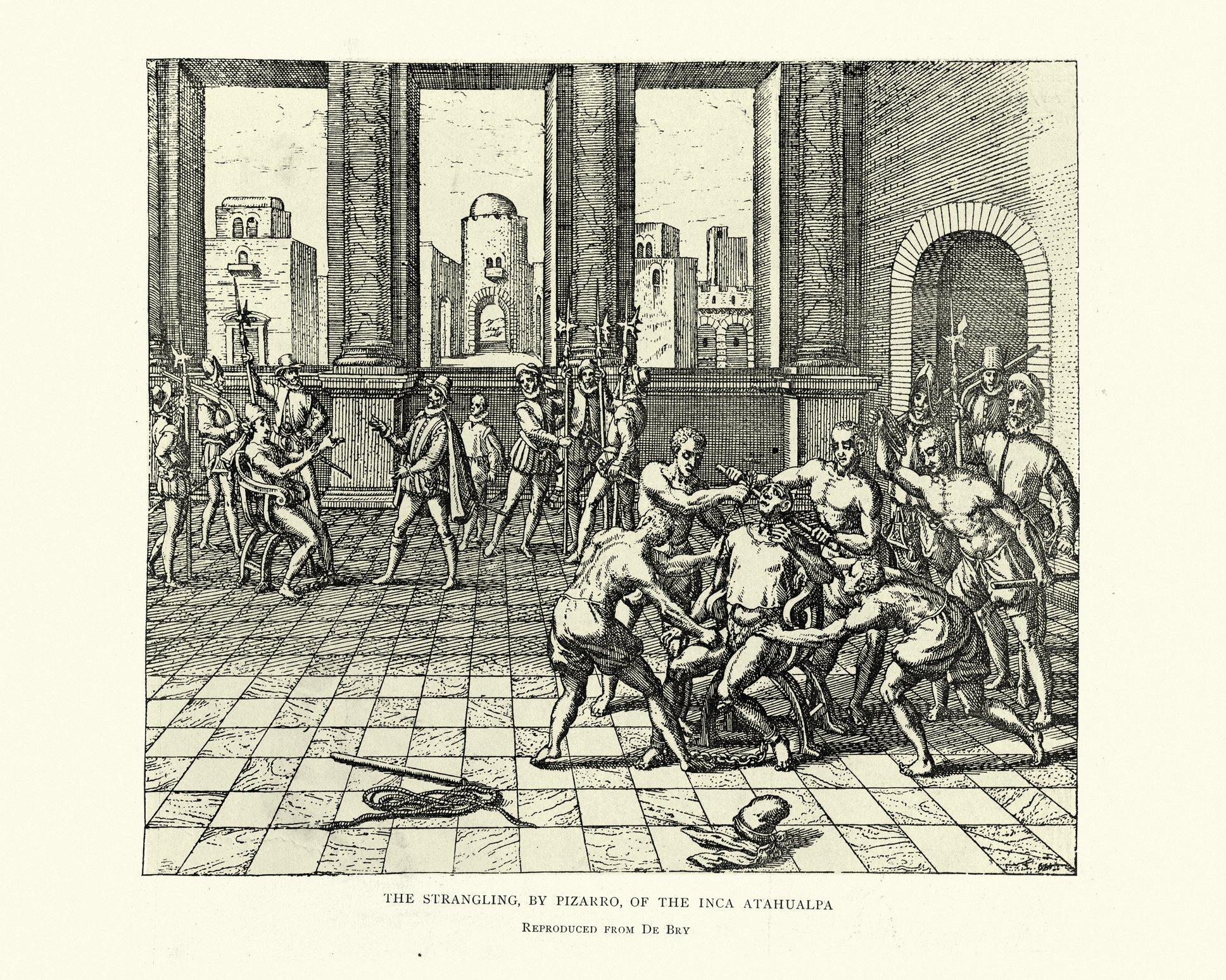 Ilustración del estrangulamiento de Atahualpa