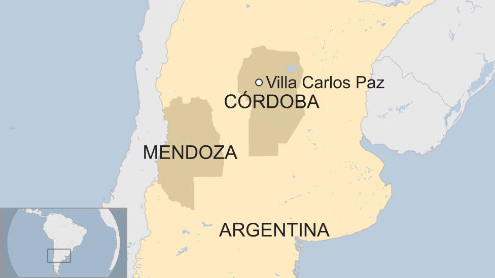 Mapa Córdoba y Mendoza, Argentina
