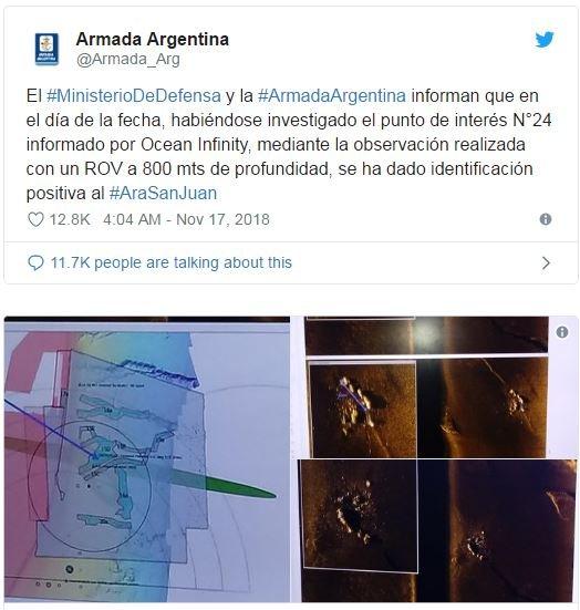 La Armada de Argentina comunicó en Twitter el hallazgo