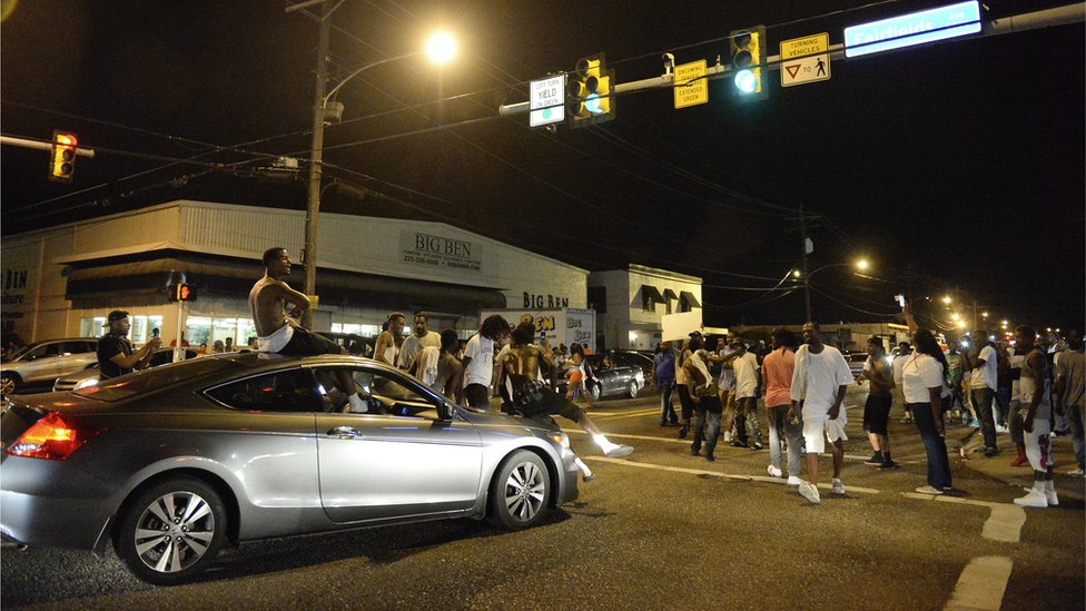 Protest near scene of shooting in Baton Rouge, Louisiana. 5 July 2016