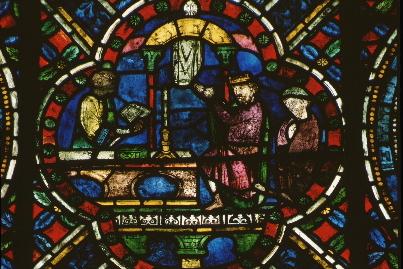 A stained glass window in Canterbury cathedral depicts Henry II doing penance at the tomb of St Thomas