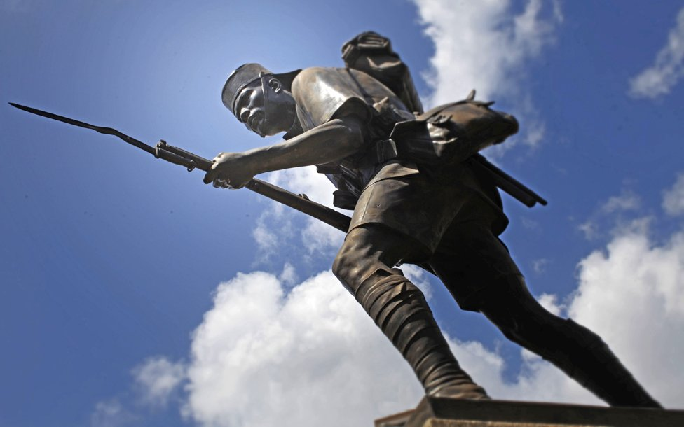 Monument to black soldiers who fought for both Britain and Germany in the German East African Campaign in Dar es Salaam