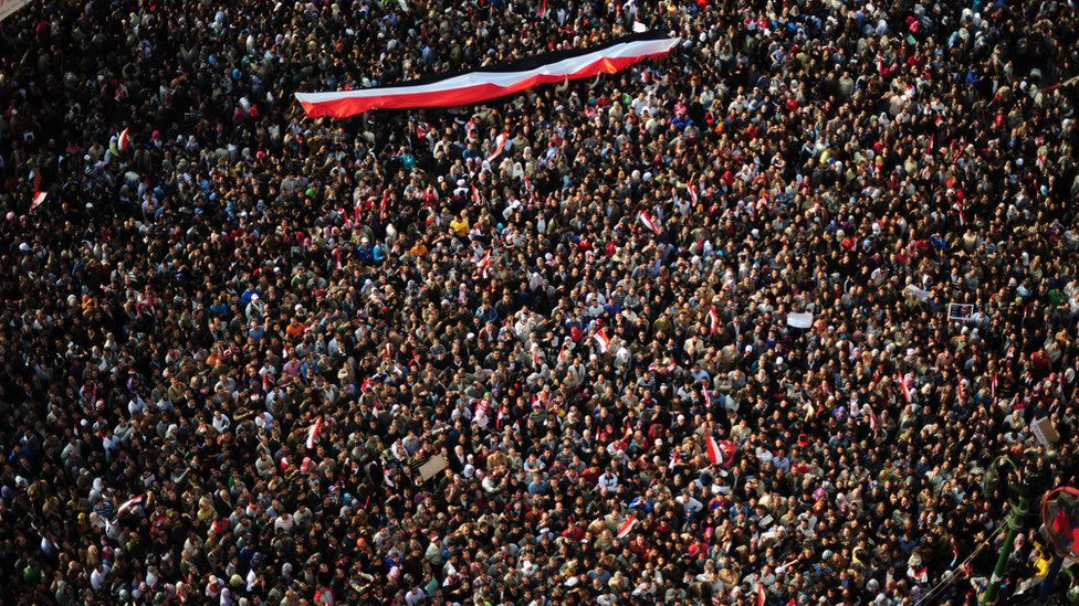 "Hundreds of thousands of Egyptian anti-government demonstrators (protestors) crowd Cairo""s Tahrir Square on February 8, 2011 on the 15th consecutive day of protests demanding the ouster of embattled President Hosni Mubarak."