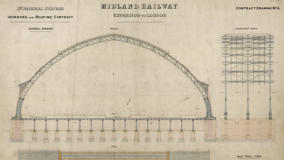 Plans for St Pancras station, London, 1860s