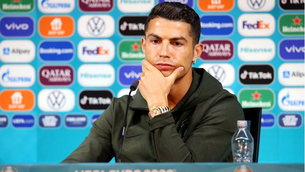Cristiano Ronaldo durante la rueda de prensa después del partido