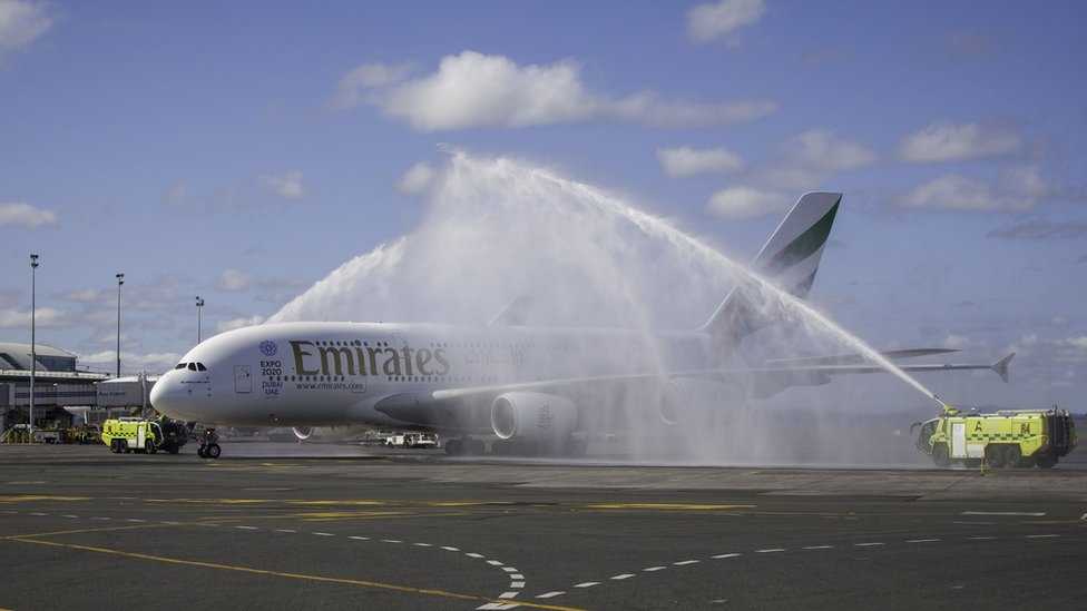 Emirates Airbus A380 shortly after touching down in Auckland