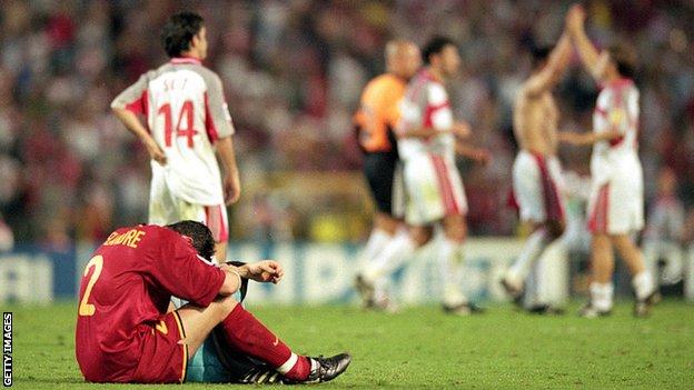 Turkey celebrate beating Belgium at Euro 2000