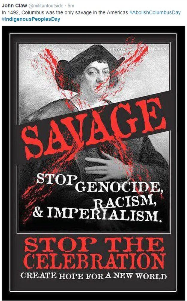 An anti-Christopher Columbus poster
