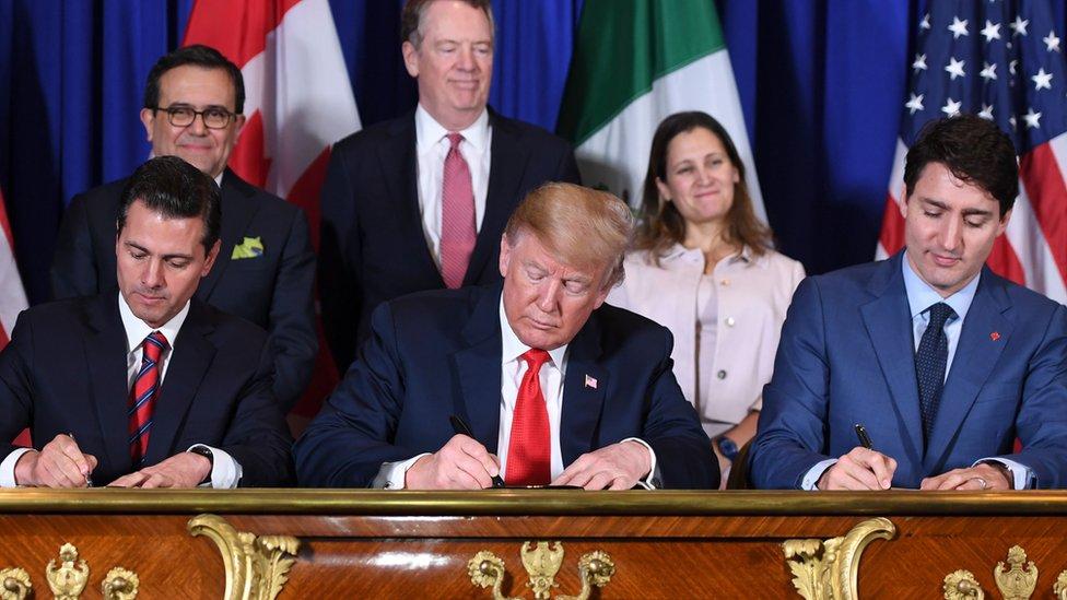 Enrique Peña Nieto, Donald Trump y Justin Trudeau.
