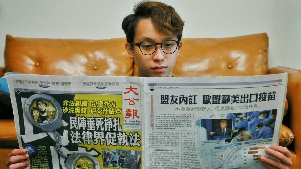 訪問當天,親北京媒體以頭版報導民陣的消息,指控民陣勾結外國勢力和洗黑錢,形容民陣是垂死掙扎。