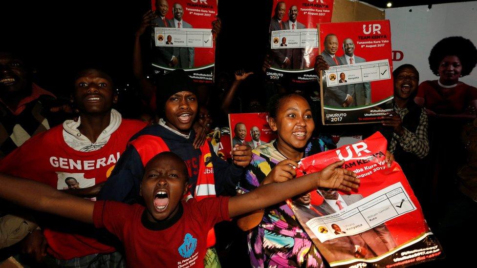 Supporters of Uhuru Kenyatta celebrate in Nairobi