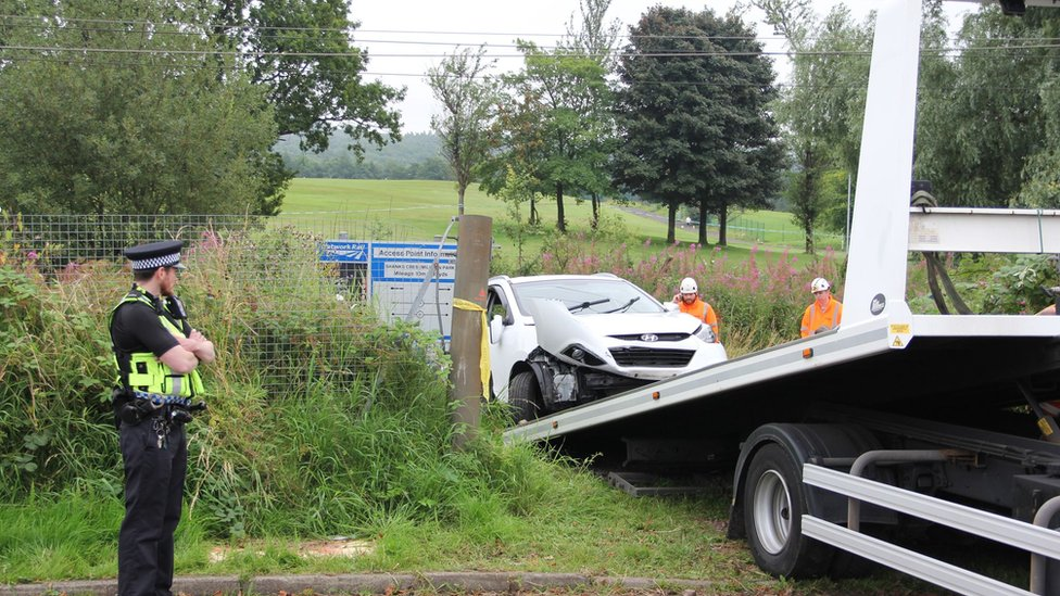 Car removed from rail track