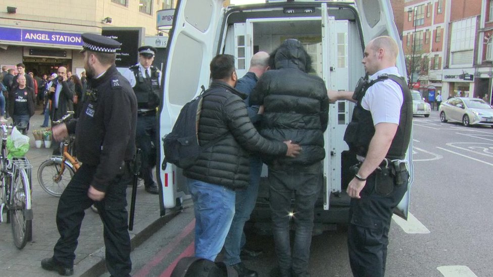 Police carrying out stop and search in London