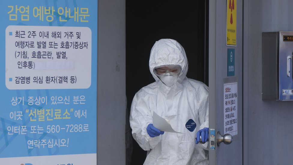 A medical worker wearing protective gear in Daegu, South Korea
