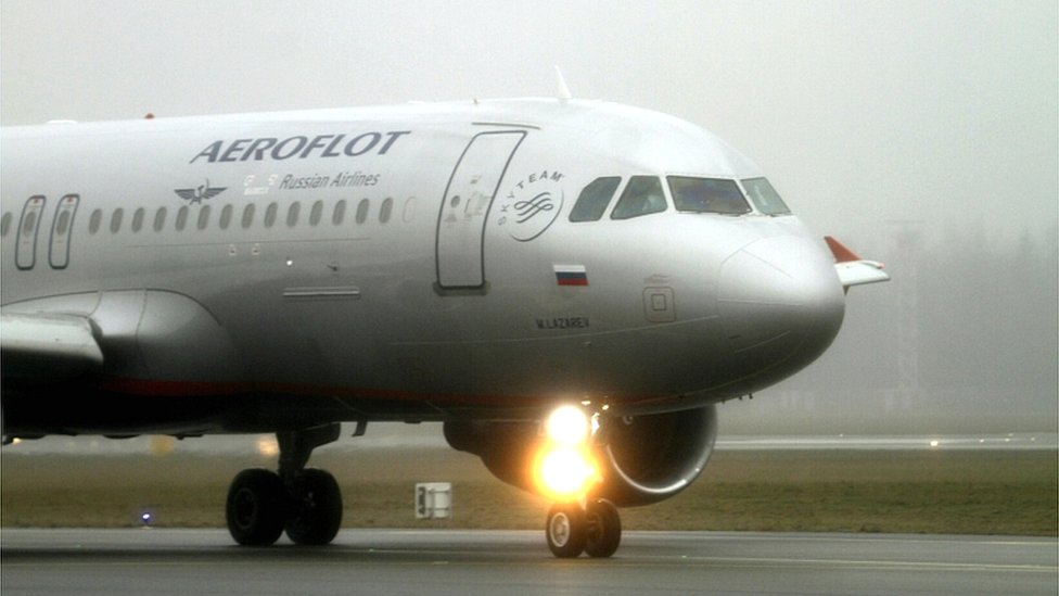 An Airbus A320 of Russian carrier Aeroflot in Riga, Latvia, in 2016