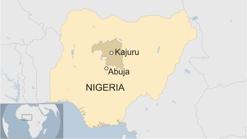Map of Nigeria showing Kajuru