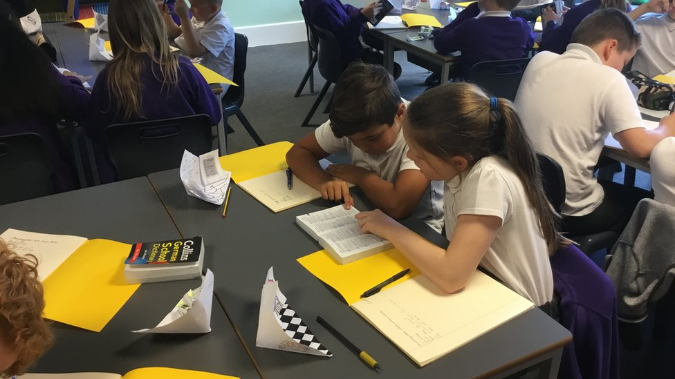 children learning German at a primary school in Warrington